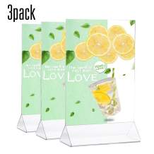 TWING Table Sign Display Holder - Ad Picture Frame Brochure Holder - Clear Acrylic 8.5x11inches Pack of 3