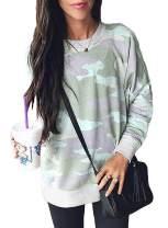 AlvaQ Women Camo Printed Casual Long Sleeve Sweatshirts Blouses Tops