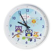 TOHOOYO Wall Clock 12''Cartoon Animals Children's Learn The Time Wall Clock Non-Ticking Colorful Decorative Wall Clock Quiet Wall Clocks Boys Girls Bedroom Decoration(Blue-Owl)