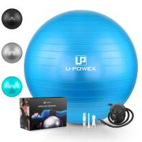 U-POWEX Exercise Ball(45-85cm) for Stability, Fitness, Balance, Yoga, Core, Desk Chairs & Home Gym, Professional Grade & Anti Burst Exercise Ball - Foot Quick Pump/Workout Guide Included