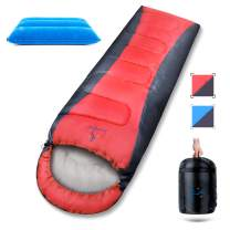 Sleeping Bag 3-4 Season,-5 to 15°C,Water Resistant,with Foot Zipper,Carrier Sack,Inflatable Pillow,Envelope Winter Sleeping Bags Lightweight for Adults Kids Outdoor Sleepovers Camping Hiking