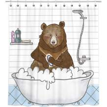 "Bonsai Tree Bear Shower Curtain, Waterproof Wild Animal Bathroom Curtains, Funny Black Bear Take a Shower Kids Fabric Shower Curtains Hooks for Bathroom Decorations, 66""x72"""