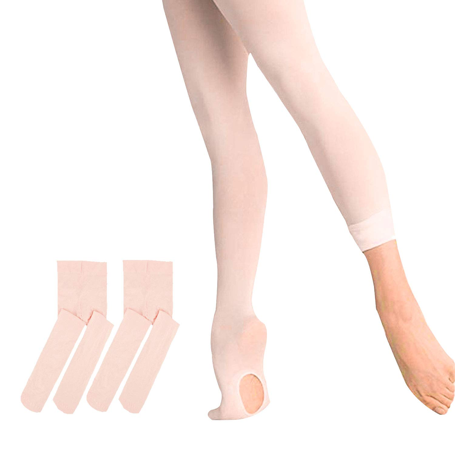 WEANMIX 2 Pairs Ballet Tights for Girls, 60 Denier Ultra Soft Pro Dance Tights With Holes