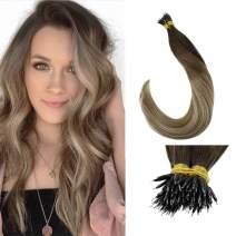 "LaaVoo 16"" Cold Fusion Dip Dye Nano Stick Tips Human Hair Balayage Color Darker Brown Fading to Ash Brown and Medium Blonde Nano Rings Pre Bonded Hair Extensions 1g/strand 50g (#3/8/22)"