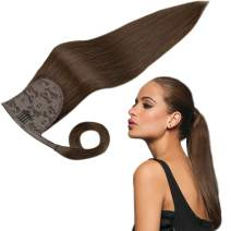 RUNATURE Hair Extensions Ponytail Real Human Hair Clip in 16 Inches 80g Darkest Brown Silky Straight Warp Around Ponytail Hair Piece for Women