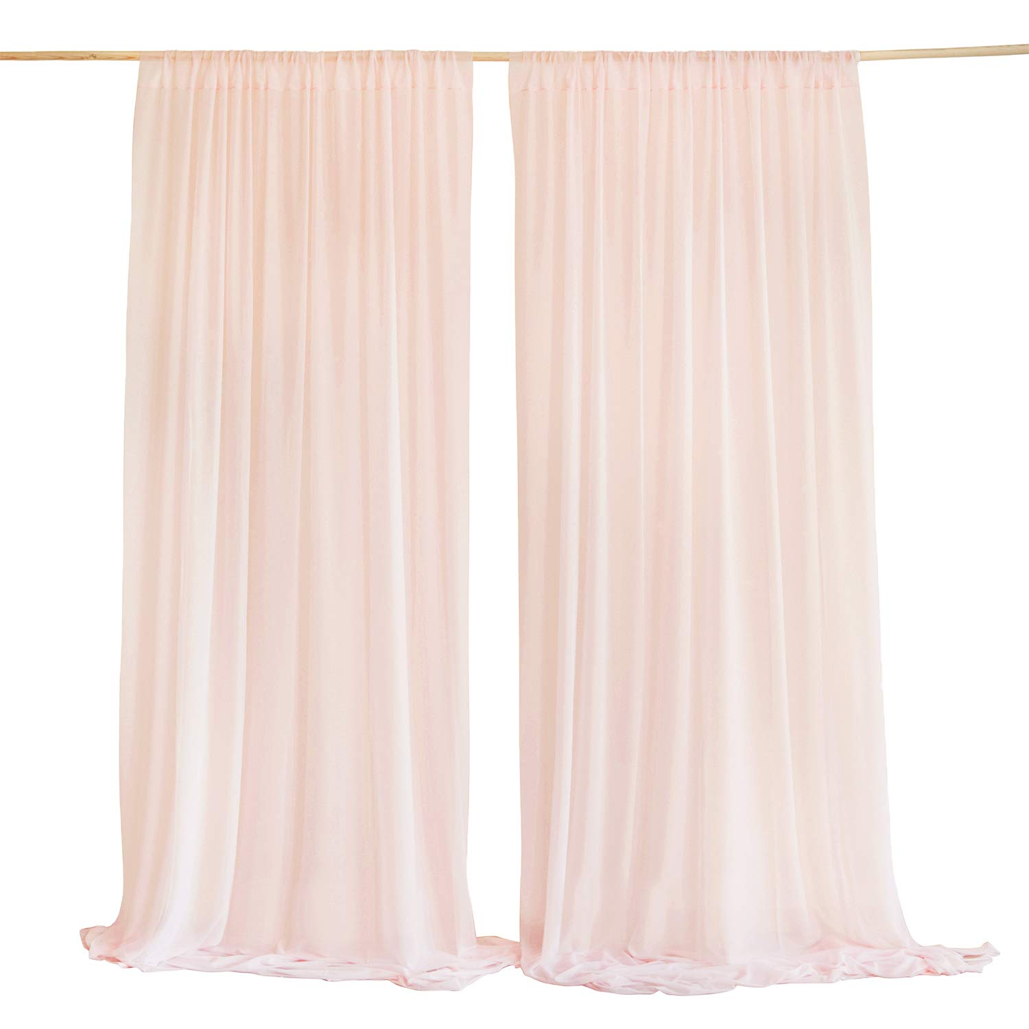 Ling S Moment Wrinkle Free Blush Sheer Backdrop Curtains10ft X 10ft Chiffon Fabric Drapes Wedding Party Baby Shower Decoration