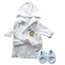 Luvable Friends Woven Terry Baby Bath Robe with Slippers, Blue