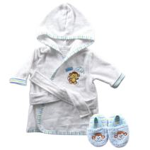 Luvable Friends Unisex Baby Cotton Terry Bathrobe, Blue Monkey, One Size