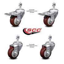 """Polyurethane Swivel Threaded Stem Caster Set of 4 w/3"""" x 1.25"""" Maroon Wheels and 1/2"""" Stems - Includes 2 with Total Locking Brake - 1000 lbs Total Capacity - Service Caster Brand"""