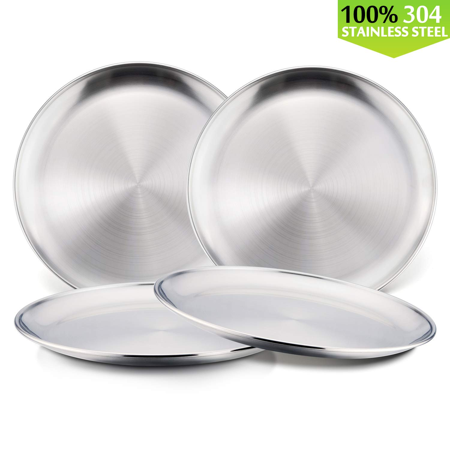 Toddlers Kids 18/8 Stainless Steel Plates, HaWare Eco Friendly Metal 304 Feeding Dinner Dishes for Serving/Snack/Camping, No Plastic and Dishwasher Safe - 4 Pack