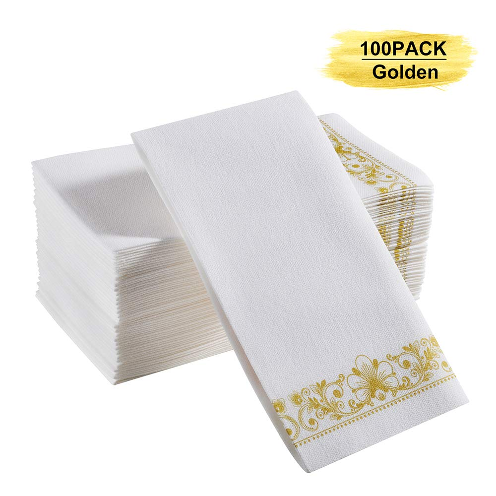 YEUNG TES Paper Hand Towels for Bathroom, Linen-Feel Soft Guest Paper Towel, and Durable Gold Napkins, Suitable for Dinner, Parties, Wedding, Holiday and Thanksgiving, Christmas. Pack of 100