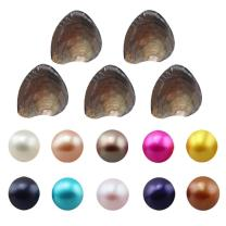 Jessie Freshwater Cultured Love Wish Pearl Oyster Round Pearls Various 10 Shining Meaningful Color, Oysters with Pearls Inside (7-8mm, 10 PCs/lot)