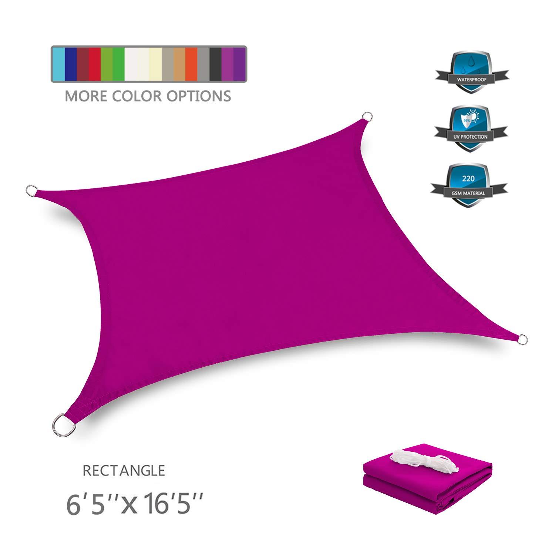 Tuosite Terylene Waterproof Sun Shade Sail UV Blocker Sunshade Patio Rectangle Knitted 220 GSM Block Fabric Pergola Carport Awning 6'5''x 16'5'' in Color Rose Red