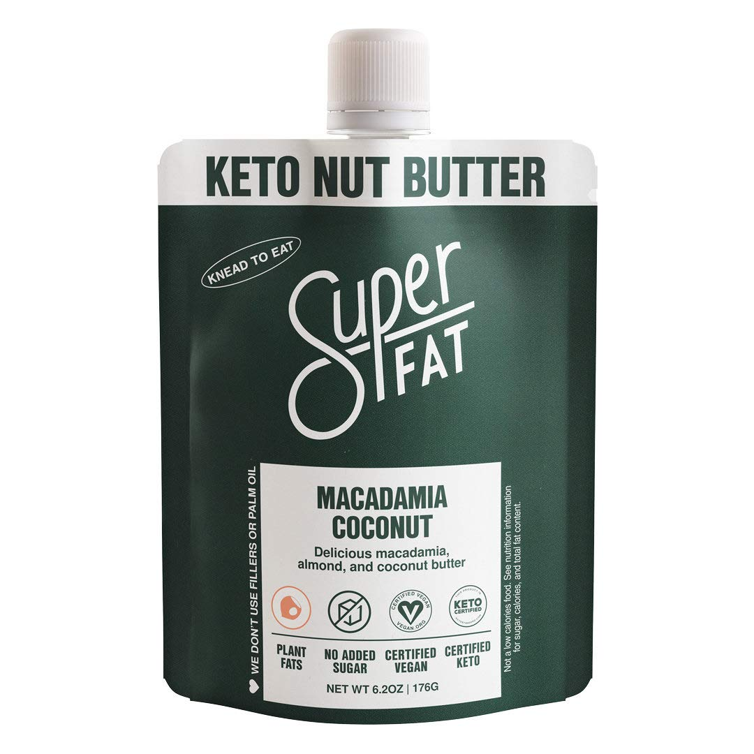 SuperFat Nut Butter Keto Snacks - Macadamia & Almond Nut Butter Fat Bomb Paleo Snack For Energy, Metabolism & Brain Function, Vegan, Gluten Free, Low Net Carb - 6.2 oz (Macadamia Coconut)