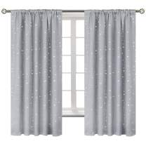 BGment Star Blackout Curtains for Kids Bedroom - Rod Pocket Thermal Insulated Room Darkening Printed Curtains for Living Room, Set of 2 Panels ( 52 x 63 Inch, Light Grey )