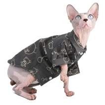 Sphynx Hairless Cat Breathable Summer Cotton Shirts Pet Clothes, Crown/Stripe/Car Pattern Button Kitten T-Shirts with Sleeves, Cats & Small Dogs Apparel