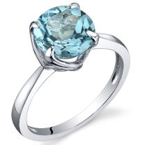Sublime Solitaire 2.25 Carats Swiss Blue Topaz Ring in Sterling Silver Rhodium Nickel Finish Sizes 5 to 9