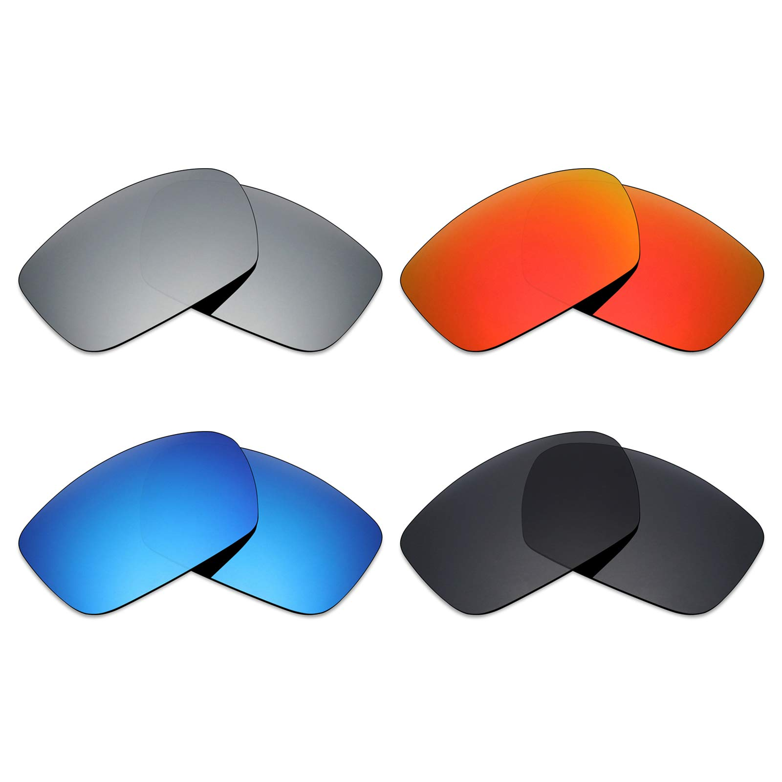 Mryok 4 Pair Polarized Replacement Lenses for Spy Optic Dirk Sunglass - Stealth Black/Fire Red/Ice Blue/Silver Titanium