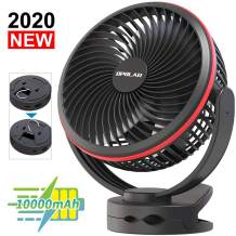 10000mAh Battery Operated Clip On Fan with Hanging Hook, Super Strong Airflow, 4 Speeds, Sturdy Clamp, Timer, Portable Camping Fan for Desktop Tent Treadmill Golf Cart Hurricane, Long-lasting, 7 Inch