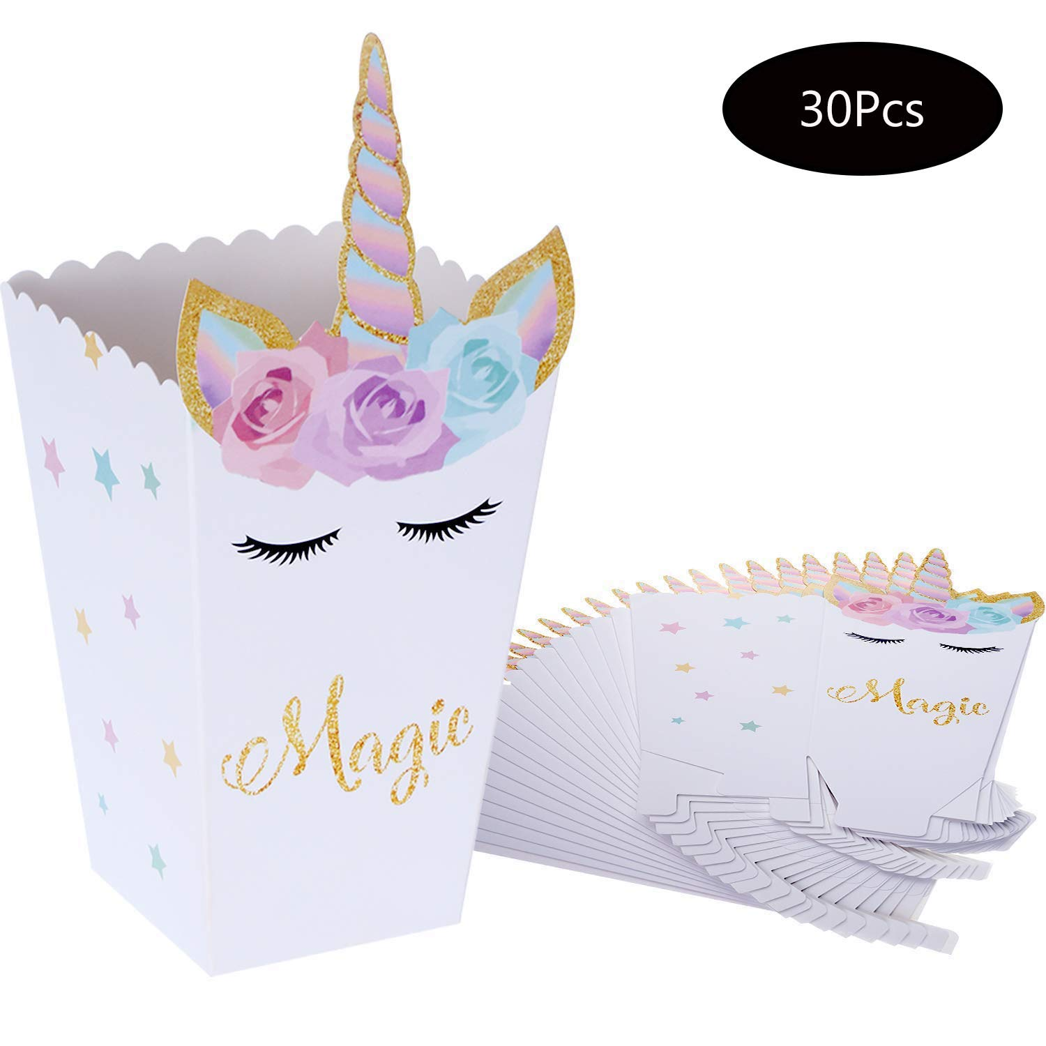 Forsun 30 Pieces Popcorn Snack Boxes Rainbow Unicorn Pattern Treat Box Popcorn Container for Baby Shower Birthday Party Supplies