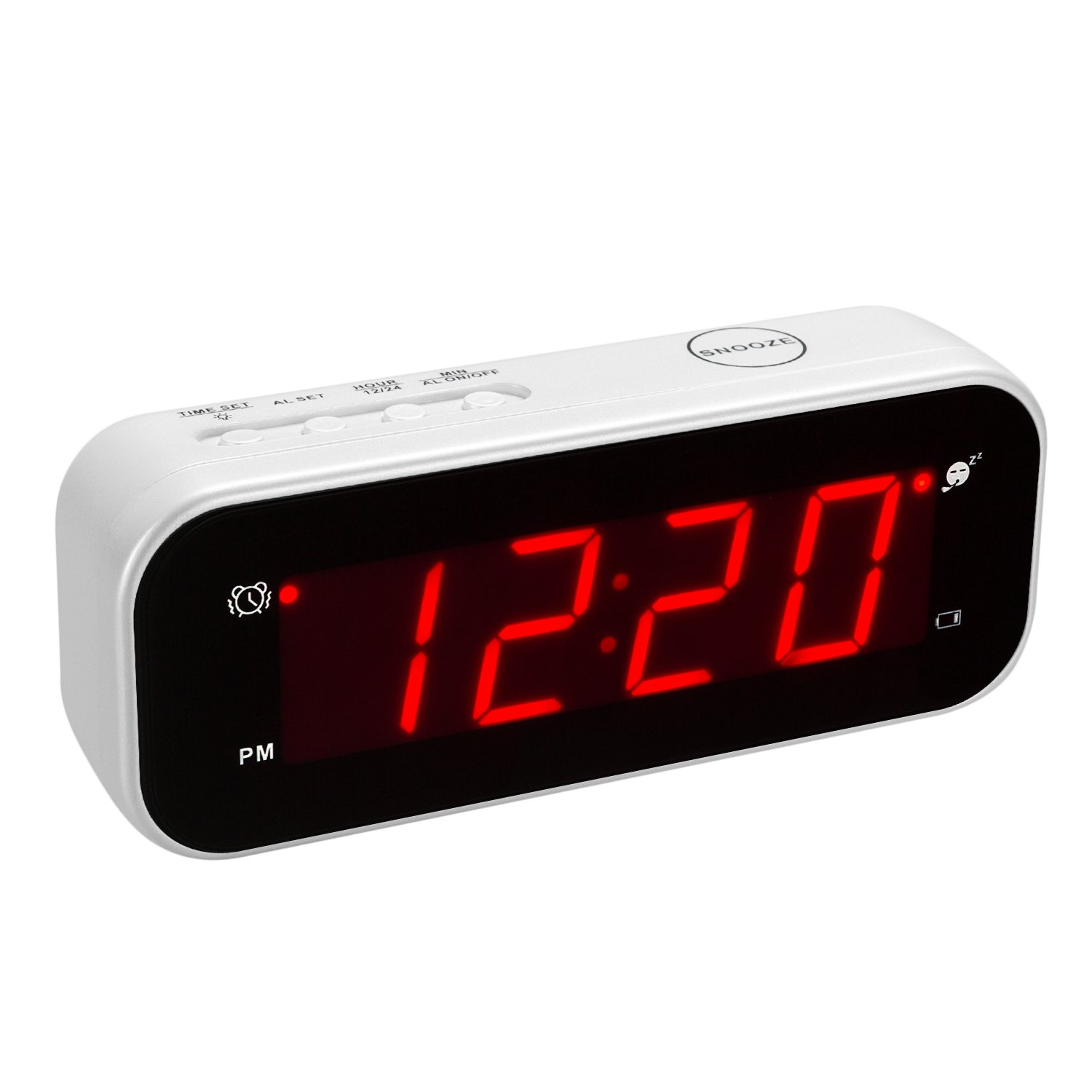 Kwanwa Small Digital LED Alarm Clock Battery Powered Operated Only with Thermometer for Travel Kids Girls Teens