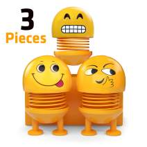 3pcs Spring Emoji Supplies Car Accessories - Birthday Party Favors for Kids and Adults, Cute Accessories for Car, Office Interior Desk Decorations, Springy Cool Emoji Doll Heads