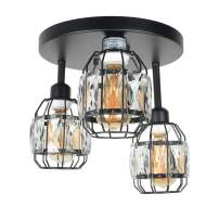 Baiwaiz Crystal Cage Flush Mount Light, Black Metal Round Industrial Ceiling Lighting Modern Close to Ceiling Light Fixture 3 Lights Edison E26 108
