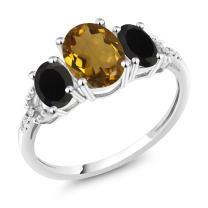 Gem Stone King 10K White Gold Diamond Accent 3-Stone Engagement Ring set with 1.83 Ct Oval Whiskey Quartz Black Onyx