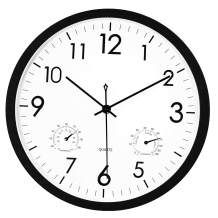 Foxtop 12 Inch Indoor Retro Silent Non-Ticking Wall Clock with Thermometer and Hygrometer Combo, Battery Operated Quality Quartz Round Clock Wall Decorative for Home (Black)
