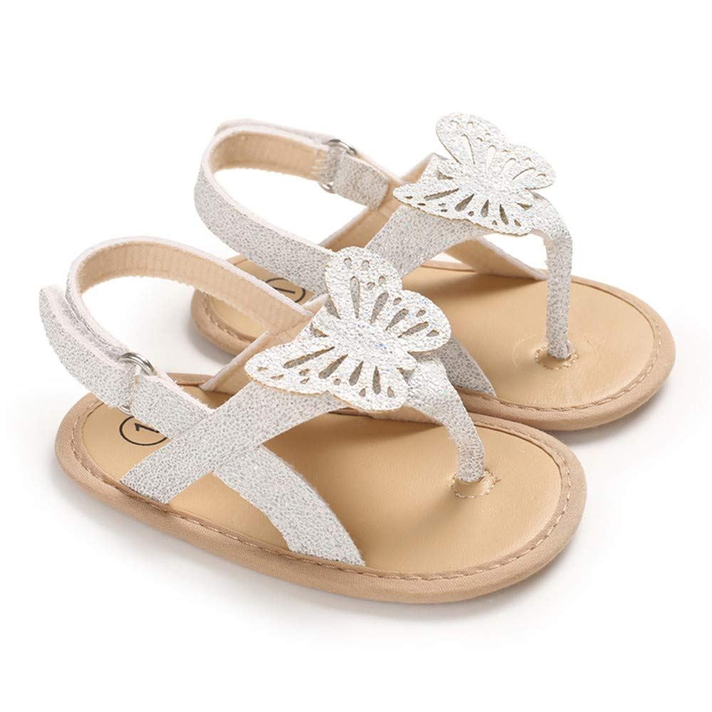 Meckior Infant Baby Girls Sandals Glittery Bowknots T-Strap Open-Toed Summer Shoes Soft Sole Non-Slip Princess Flat Shoes