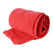 Saim Throw Blanket 100% Cotton Lightweight Throw for Sofa, Chair, Couch, Picnic, Camping, Beach - Cable Knit Blankets, Soft, Cozy Machine Washable Bed Throws, 30 x 40 Inch, Orange Red