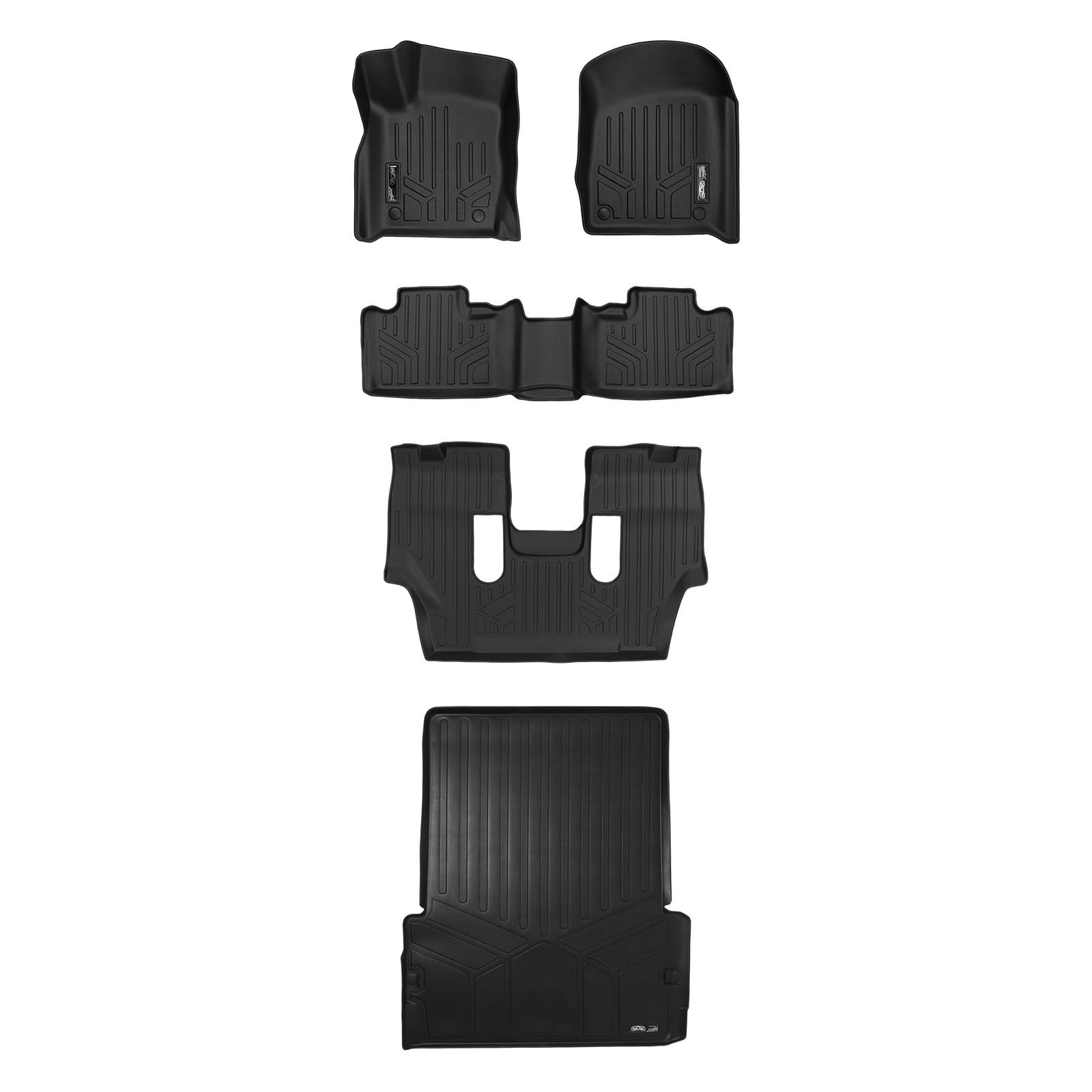 MAXLINER Floor Mats 3 Rows and Cargo Liner Behind 2nd Row Set Black for 2016-2018 Dodge Durango with 2nd Row Bucket Seats