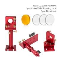 Cloudray CO2 Laser Head Whole Set Incl. 2PCS Mirror Mounts, 1 PCS China Focus Lens D20mm FL50.8mm and 3 PCS Mo Mirrors D25mm