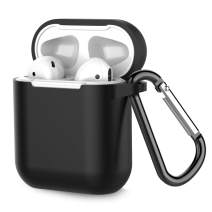 Airpods Case, Coffea AirPods Accessories Shockproof Case Cover Portable & Protective Silicone Skin Cover Case for Airpods 2 & 1 (Front LED Not Visible) - Black