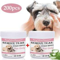 Dog Tear Stain Remover Wipes,Pet Eye Wipes,Cat Eye Wipes,Pet Wipes,Pet Eye Cleaning Wipes,Tears Stain Removing Treatment,Best Natural Eye Crust Treatment for White Fur,200 Pre Soaked Cotton Pads