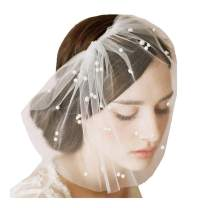 Drecode Bride Wedding Veil White Pearl Bridcage Tulle Veil Soft with Comb Bridal Headwear for Women and Girls