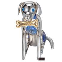 Matashi Year of The Dog Figurine Ornament with Crystal for Home Decor Gifting for Dog Lovers (Dog with Bone, Chrome/Silver)