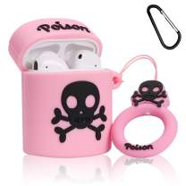 Lupct Pink Poison Compatible with Airpods 1/2 Case Silicone, Cute Cartoon 3D Cool Air pods Design Cover, Fun Fashion Stylish Funny Cases for Kids Girls Teens Boys Style Character Skin Keychain Airpod