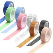 8 Rolls Grid Washi Tape, maxin Decorative Grid Writable Paper Tape,33 feet per roll, Grid Washi Tape for Scrapbook, DIY Decor, Gift Wrap, Diary, Photos, Envelopes, Cards (8 Colors)