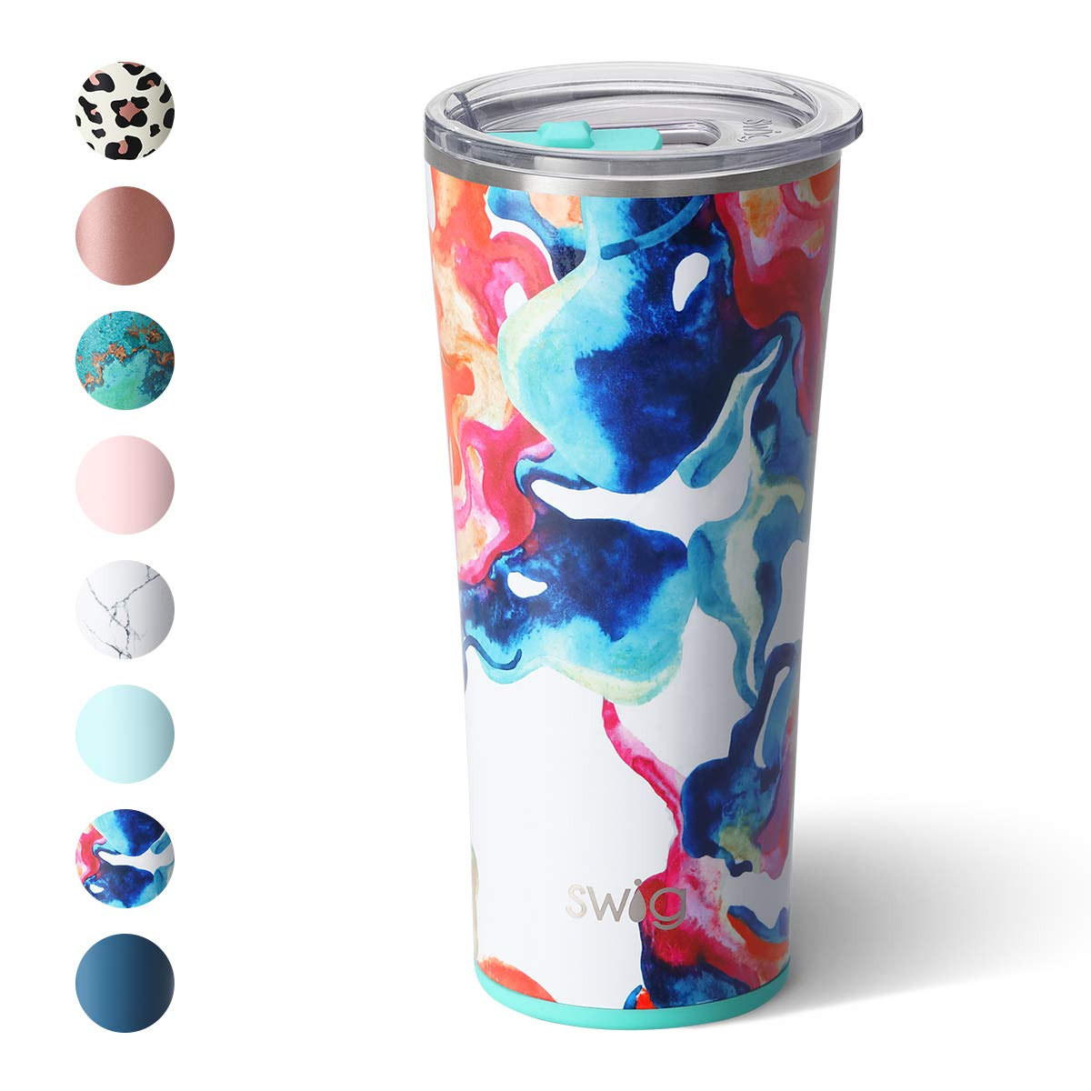 Swig Life 22oz Triple Insulated Stainless Steel Skinny Tumbler with Lid, Dishwasher Safe, Double Wall, and Vacuum Sealed Travel Coffee Tumbler in our Color Swirl Pattern (Multiple Patterns Available)