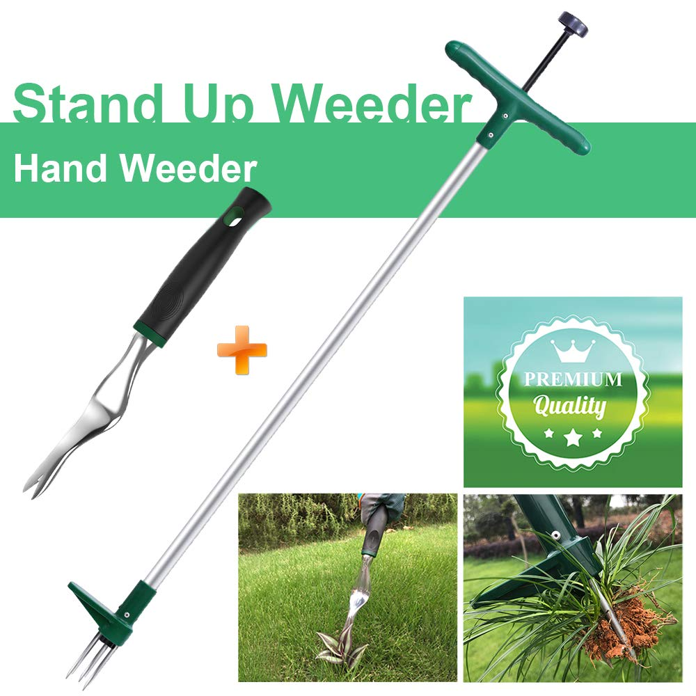 Walensee Stand Up Weeder and Weed Puller, Stand up Manual Weeder Hand Tool with 3 Claws, Stainless Steel and High Strength Foot Pedal, Weed Puller (Combo Pack - Stand Up Weeder & Hand Weeder)