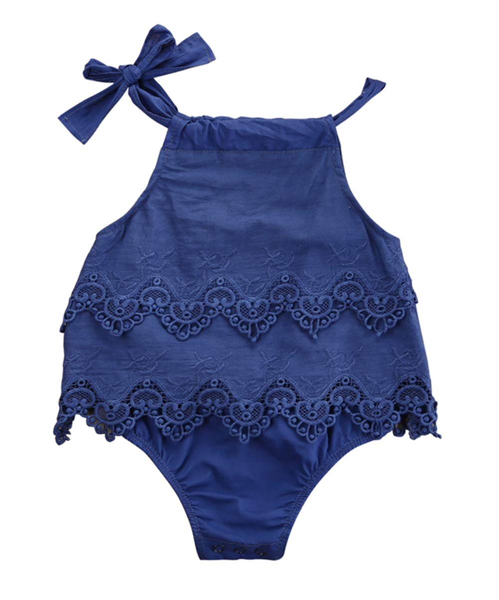 Newborn Baby Girl Romper Lace Floral Bodysuit Sleeveless Jumpsuit Outfit Ruffled Sunsuit 0-18M