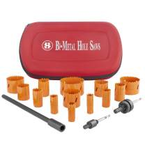 Bi-Metal Hole Saw Kit, 16-Piece 3/4 Inch To 3 Inch Heavy Duty Steel Corn Hole Drilling Cutter Set with Drill Bit Adapter & Extension for Cutting Wood, Plastic, Aluminum, Metal Stainless Steel(SILIVN)