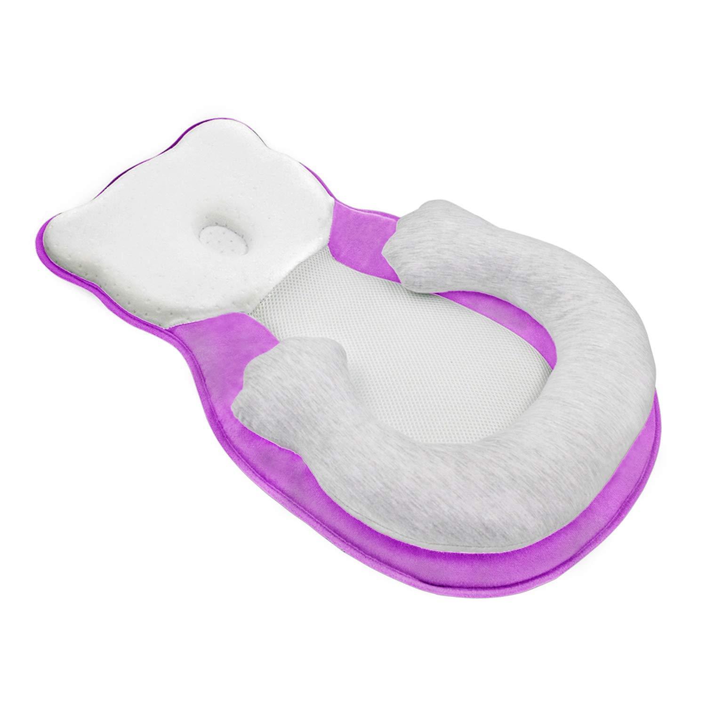 Unisex Infant Support Newborn Lounger Pillow Cute Bear Comfort Newborn Baby Nest Portable Snuggle Bed Mattress Prevent Flat Head Pillow Head Support for 0-6M Newborn Infant Purple