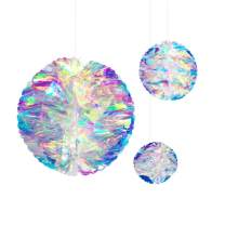 NICROLANDEE Hanging Decorations Iridescent Honeycomb Ball Foil Ceiling Hanging Flowers for Wedding Birthday Party Supplies Baby Bridal Shower Fairy Princess Rainbow Show Decor