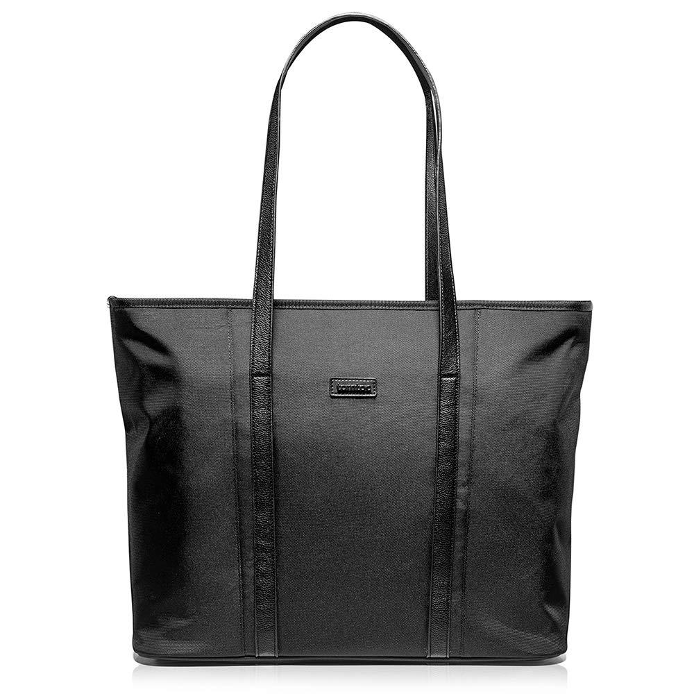 tomtoc Laptop Tote Bag for up to 16-inch MacBook Pro 2019, Lightweight Water Repellent Women Shoulder Bag Stylish Handbag for Business Work College Travel Party Shop, Black
