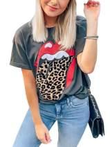 Elosele Women Red Lip Leopard Tongue T-Shirt Short Sleeve Cute Graphic Teen Girls Tee Tops