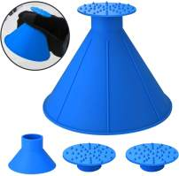 HENGBANG Ice Scraper Round Car Window Windshield Cone -Shaped 6.8″ Larger Coverage Diameter Snow Ice Scraper Funnel Removal Tool with 6 Ice Breakers(1Pcs Blue)
