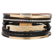 YOOCOOL Multi-Layer Handmade Leather Bracelet Braided Wrap Cuff Bangle with Alloy Magnetic Clasp Beaded Wrist Bracelets Jewelry for Women Gift