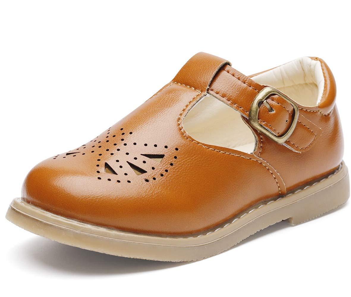 DADAWEN Girl's T-Strap Mary Jane School Uniform Shoes Flat Dress Shoes